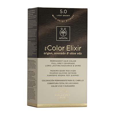 Apivita My Color Elixir Αrgan, Avocado & Olive Oils Βαφή Μαλλιών 5.0 Καστανό ανοιχτό