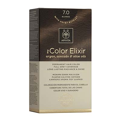 Apivita My Color Elixir Αrgan, Avocado & Olive Oils Βαφή Μαλλιών 7.0 Ξανθό
