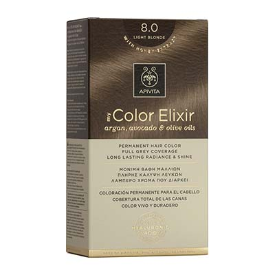 Apivita My Color Elixir Αrgan, Avocado & Olive Oils Βαφή Μαλλιών 8.0 Ξανθό Ανοιχτό