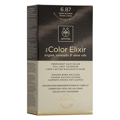 Apivita My Color Elixir Αrgan, Avocado & Olive Oils Βαφή Μαλλιών 6.87 Ξανθό Σκούρο Περλέ Μπεζ