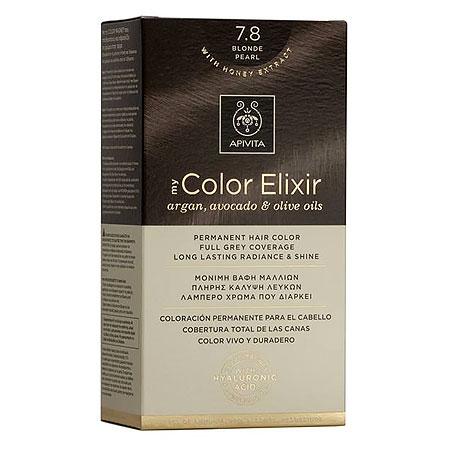 Apivita My Color Elixir Αrgan, Avocado & Olive Oils Βαφή Μαλλιών 7.8 Ξανθό Περλέ