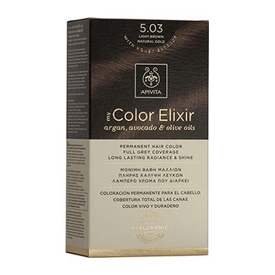 Apivita My Color Elixir Αrgan, Avocado & Olive Oils Βαφή Μαλλιών 5.03 Καστανό Ανοιχτό Φυσικό Μελί