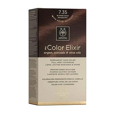 Apivita My Color Elixir Αrgan, Avocado & Olive Oils Βαφή Μαλλιών 7.35 Ξανθό Μελί Μαονί