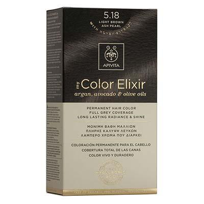 Apivita My Color Elixir Αrgan, Avocado & Olive Oils Βαφή Μαλλιών 5.18 Καστανό Ανοιχτό Σαντρέ Περλέ