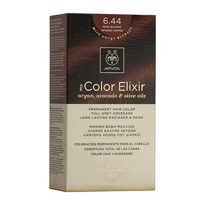 Apivita My Color Elixir Αrgan, Avocado & Olive Oils Βαφή Μαλλιών 6.44 Ξανθό Σκούρο Έντονο Χάλκινο