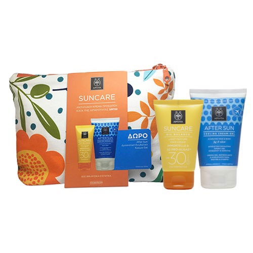 Apivita Suncare OILY SKIN SET: Face Cream Light Texture SPF30 με Ελίχρυσο & 3D Pro-Algae 50ml + ΔΩΡΟ After Sun Cooling Gel 100ml