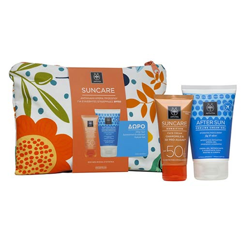 Apivita Suncare SENSITIVE SET: Face Cream SPF50 Chamomile & 3D Pro-Algae 50ml + ΔΩΡΟ After Sun Cooling Gel 100ml