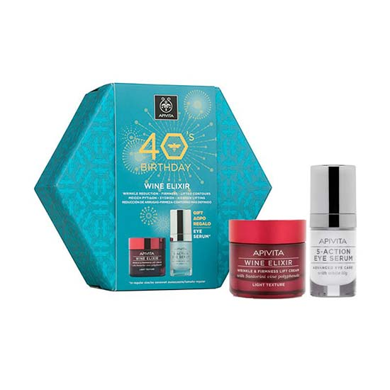 APIVITA 40s Birthday SET WINE ELIXIR Αντιρυτιδική Κρέμα ΕΛΑΦΡΙΑΣ Υφής 50ml + ΔΩΡΟ 5-Action Eye Serum 15ml