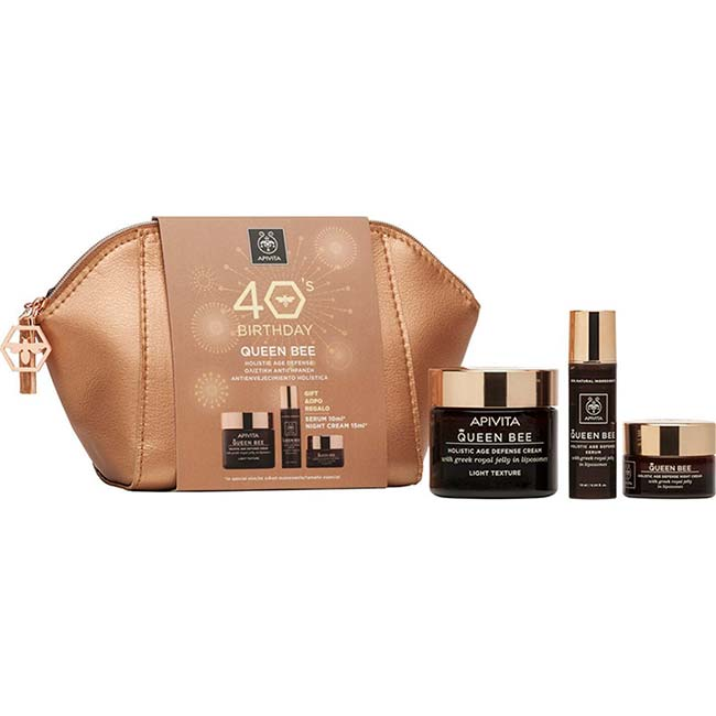 APIVITA 40s Birthday SET QUEEN BEE Light Κρέμα ΕΛΑΦΡΙΑΣ Υφής 50ml + ΔΩΡΟ Serum 10ml + Night Cream 15ml + Νεσεσέρ
