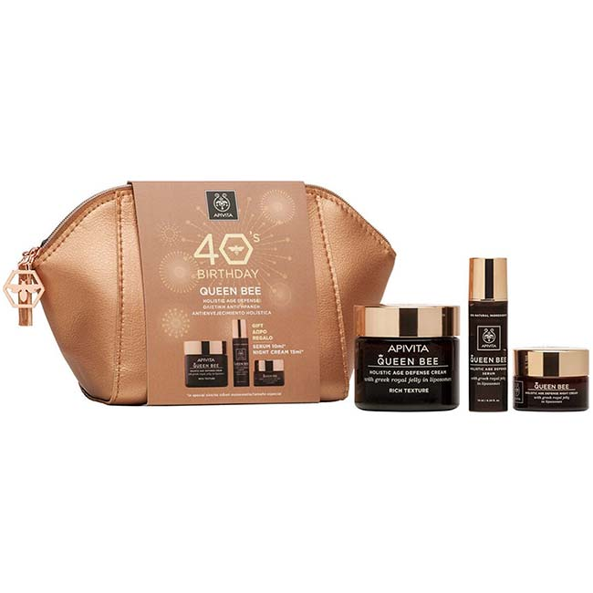 APIVITA 40s Birthday SET QUEEN BEE Rich Κρέμα ΠΛΟΥΣΙΑΣ Υφής 50ml + ΔΩΡΟ Serum 10ml + Night Cream 15ml + Νεσεσέρ