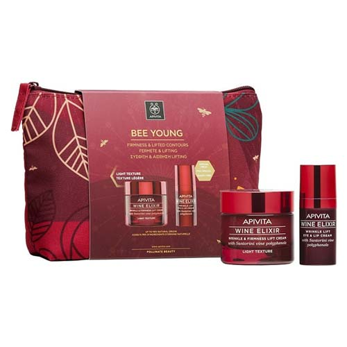 Apivita Bee Young Set Wine Elixir LIGHT Texture Wrinkle & Firmness Lift Cream 50ml + ΔΩΡΟ Eye and Lip Cream 15ml