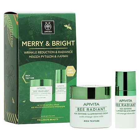 Apivita Promo Merry & Bright Set Bee Radiant Κρέμα Πλούσιας Υφής 50ml & Κρέμα Ματιών 15ml