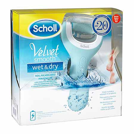 Scholl Velvet Smooth Wet & Dry Ηλεκτρική Επαναφορτιζόμενη & Αδιάβροχη Λίμα Ποδιών