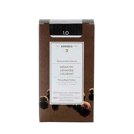 Korres Βαφή Μαλλιών Argan Oil Advanced Colorant Μαύρο Φυσικό 1.0
