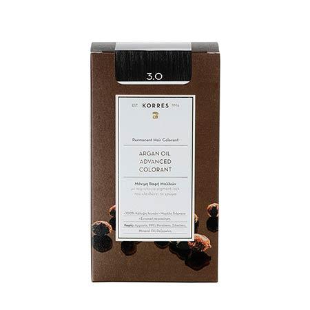 Korres Βαφή Μαλλιών Argan Oil Advanced Colorant Καστανό Σκούρο 3.0