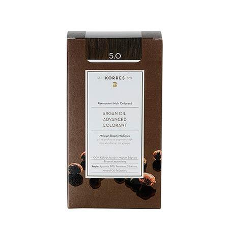 Korres Βαφή Μαλλιών Argan Oil Advanced Colorant Καστανό Ανοικτό 5.0