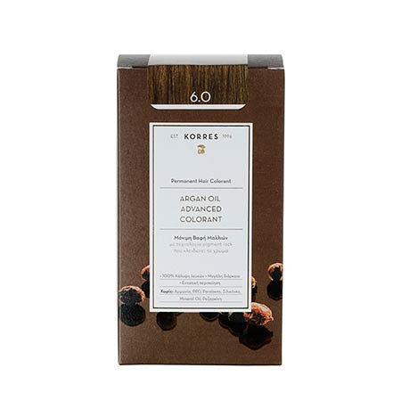 Korres Βαφή Μαλλιών Argan Oil Advanced Colorant Ξανθό Σκούρο 6.0