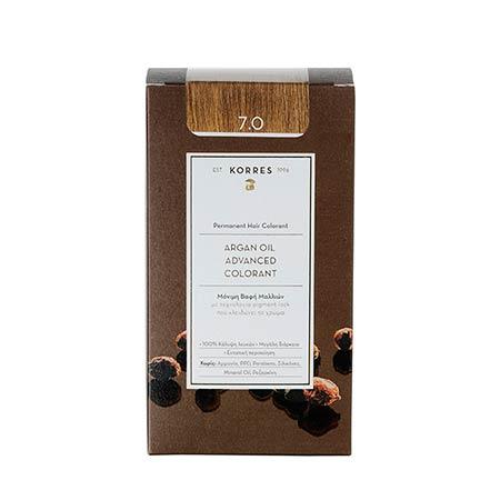 Korres Βαφή Μαλλιών Argan Oil Advanced Colorant Ξανθό 7.0