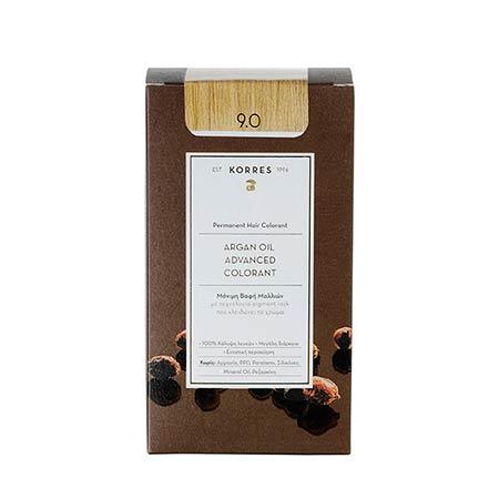 Korres Βαφή Μαλλιών Argan Oil Advanced Colorant Ξανθό Πολύ Ανοιχτό 9.0