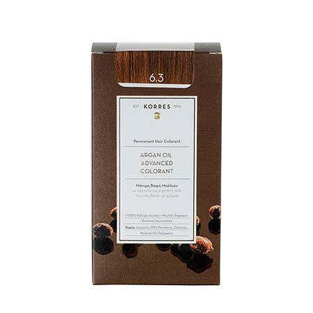 Korres Βαφή Μαλλιών Argan Oil Advanced Colorant Ξανθό Σκούρο Χρυσό / Μελί 6.3