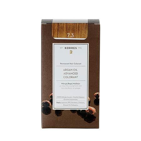 Korres Βαφή Μαλλιών Argan Oil Advanced Colorant Ξανθό Χρυσό / Μελί 7.3