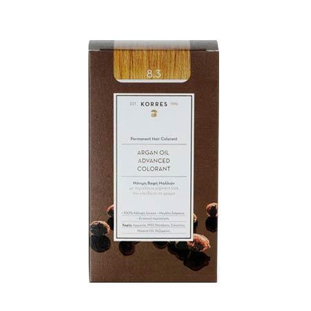 Korres Βαφή Μαλλιών Argan Oil Advanced Colorant Ξανθό Ανοιχτό Μελί 8.3