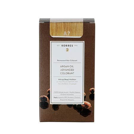 Korres Βαφή Μαλλιών Argan Oil Advanced Colorant Καραμέλα 8.7