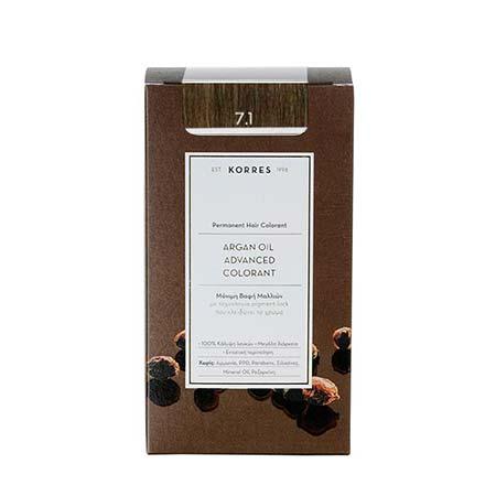 Korres Βαφή Μαλλιών Argan Oil Advanced Colorant Ξανθό Σαντρέ 7.1