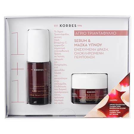 Korres Set 1+1 Άγριο Τριαντάφυλλο με Serum για Πρόσωπο-Μάτια 30ml & Μάσκα Ύπνου 40ml
