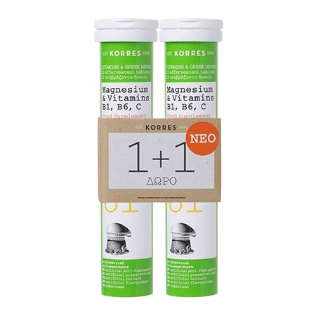Korres Σετ 1+1 Magnesium & Vitamins B1 B6 C 2 x 12 αναβράζοντα δισκία