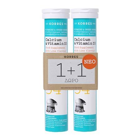 Korres Σετ 1+1 Calcium & Vitamin D3 2 x 18 αναβράζοντα δισκία