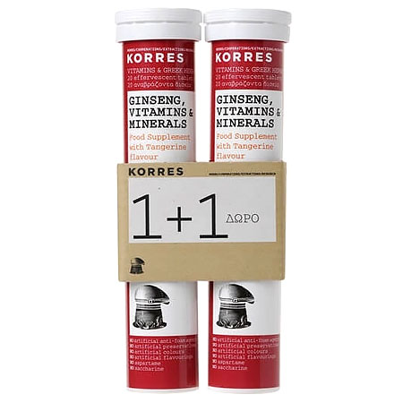 Korres Σετ 1+1 Ginseng Vitamins & Minerals 2x18 Αναβραζοντα Δισκια
