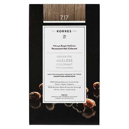 Korres Βαφή Μαλλιών Argan Oil Ageless Colorant Ξανθό Μπεζ 7.17
