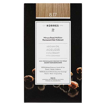 Korres Βαφή Μαλλιών Argan Oil Ageless Colorant Ξανθό Ανοιχτό Μπεζ 8.17