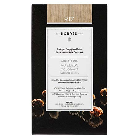 Korres Βαφή Μαλλιών Argan Oil Ageless Colorant Κατάξανθο Ανοιχτό Μπεζ 9.17