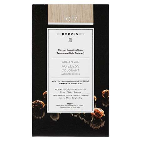 Korres Βαφή Μαλλιών Argan Oil Ageless Colorant Ξανθό Πλατίνας Μπεζ 10.17