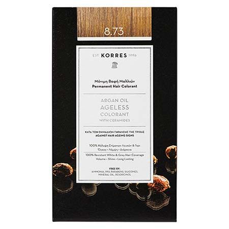 Korres Βαφή Μαλλιών Argan Oil Ageless Colorant Χρυσή Καραμέλα 8.73