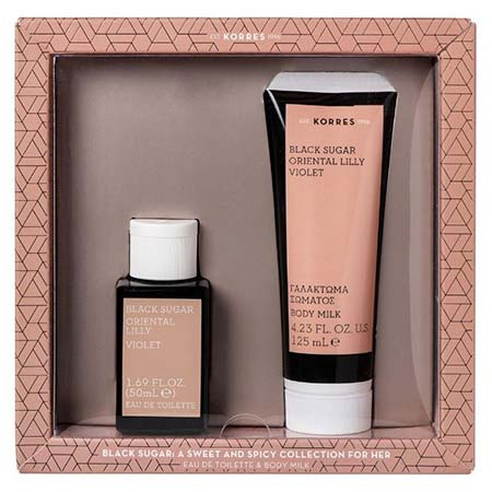 Korres Sugar Gift Set For Her: Black Sugar / Oriental Lilly / Violet Eau de Toilette 50ml & Body Milk 125ml