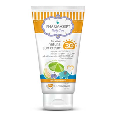 Pharmasept Baby Care Tol Velvet Natural Sun Cream SPF 30+  - Άρωμα Πεπόνι - 100ml