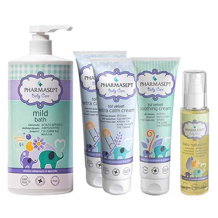 ULTIMATE PROMO SET Pharmasept Baby Care: Mild Bath 1lt + Extra Calm Cream 2x150ml + Soothing Cream 150ml + Natural Oil 100ml