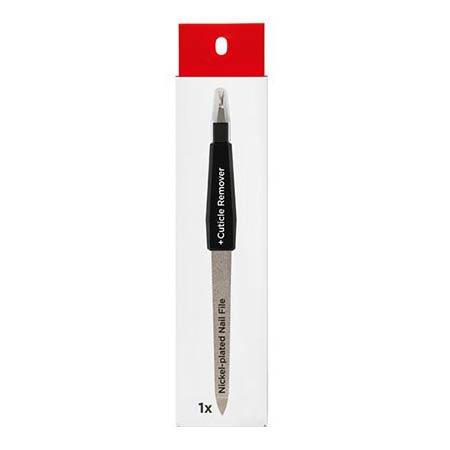 Podia Nickel Plated Nail File + Cuticle Remover Μεταλλική Λίμα Διπλής Όψης με Εξάρτημα Απομάκρυνσης Παρωνυχίδων
