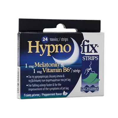 Unipharma Hypno Fix Strips 24 ταινίες. Συμπλήρωμα διατροφής με μελατονίνη
