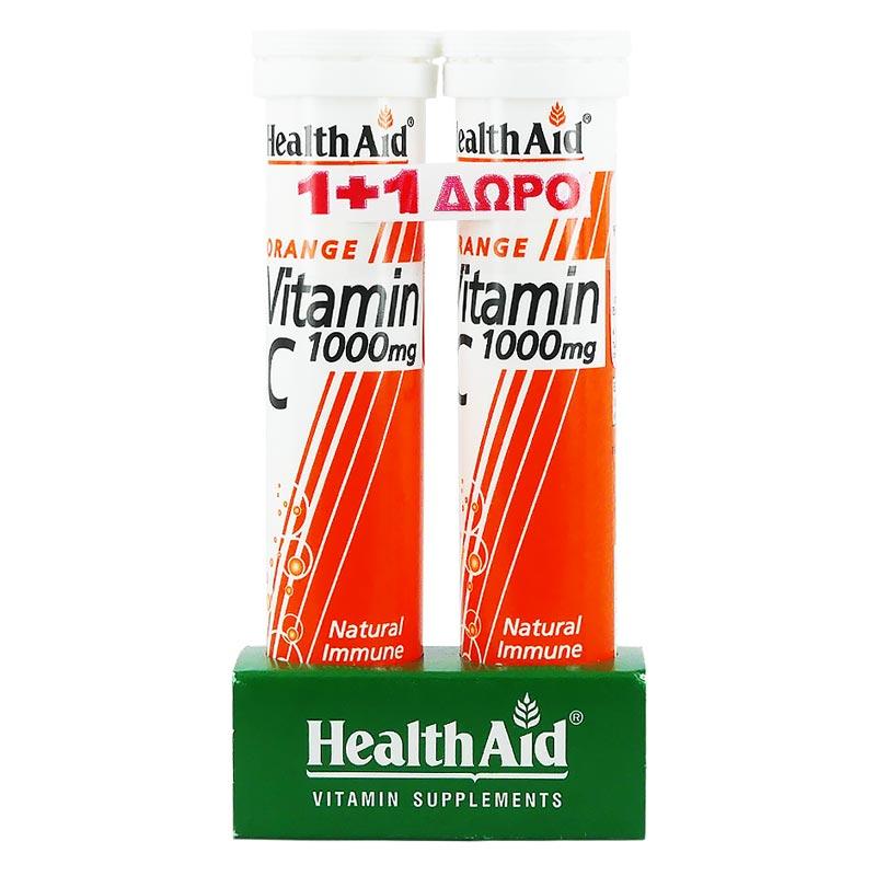 1+1 ΔΩΡΟ Health Aid Βιταμίνη C 1000mg με γεύση Πορτοκάλι 20 αναβρ. Δισκία