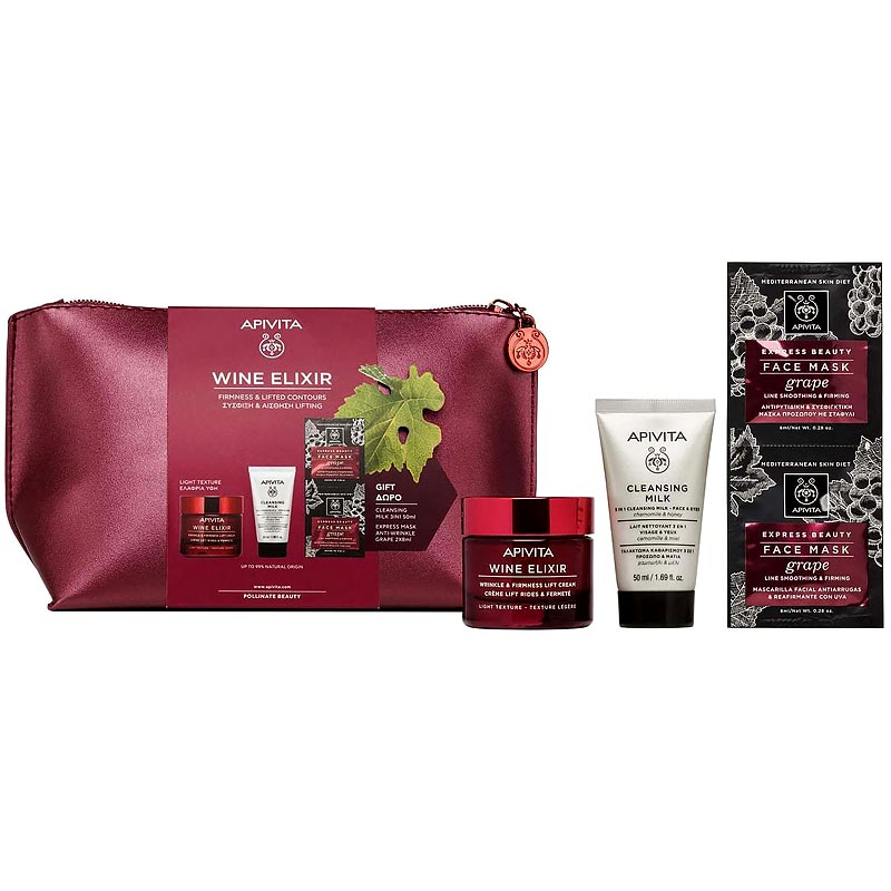 Apivita PROMO PACK Wine Elixir Αντιρυτιδική Κρέμα για Σύσφιξη & Lifting ΕΛΑΦΡΙΑΣ Υφής 50ml & ΔΩΡΑ 3 in 1 Face & Eyes Cleansing Milk 50ml & Express Beauty Face Mask Grape 2x8ml & Τσαντάκι.