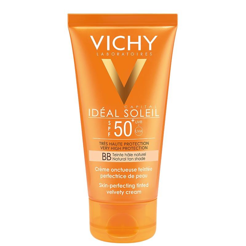 Vichy Ideal Soleil Αντηλιακή Κρέμα Προσώπου SPF50+ με Χρώμα Βελούδινο Αποτέλεσμα 50ml