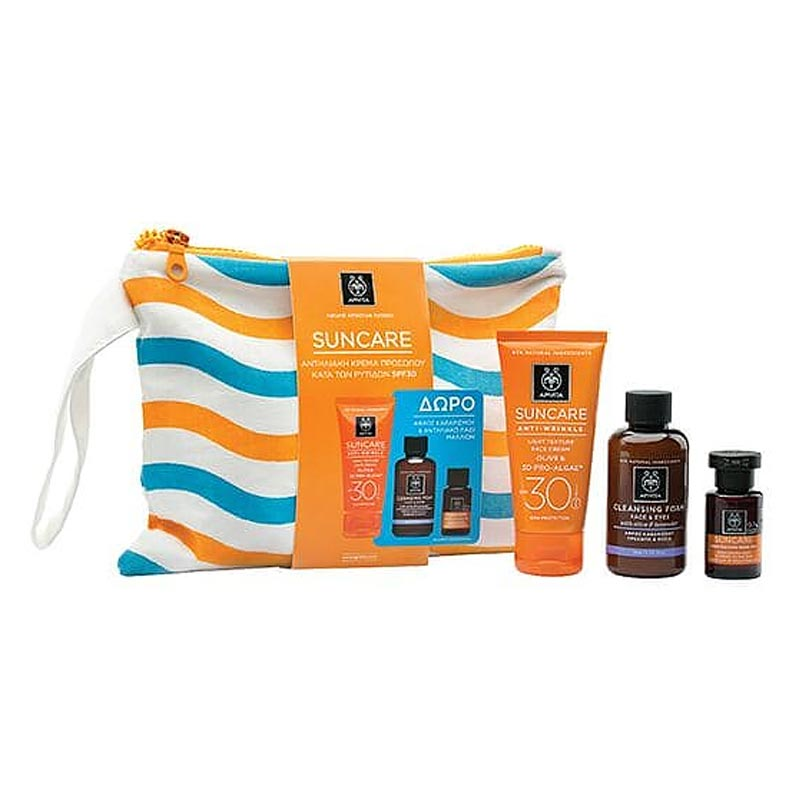 Apivita Suncare SET: Anti-Wrinkle Face Cream SPF30 + ΔΩΡΟ Cleansing Foam Olive-Lavender 75ml & Suncare Hair Oil 20ml