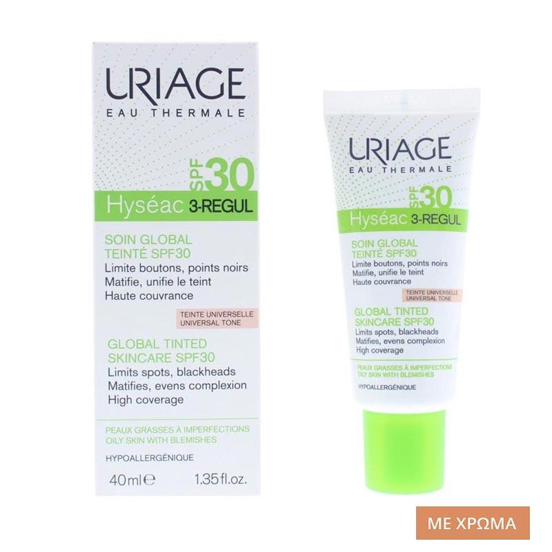Uriage Hyseac 3-Regul Global Tinted Skin Care SPF30 Κρέμα Προσώπου Κατά των Ατελειών,με Χρώμα 40ml