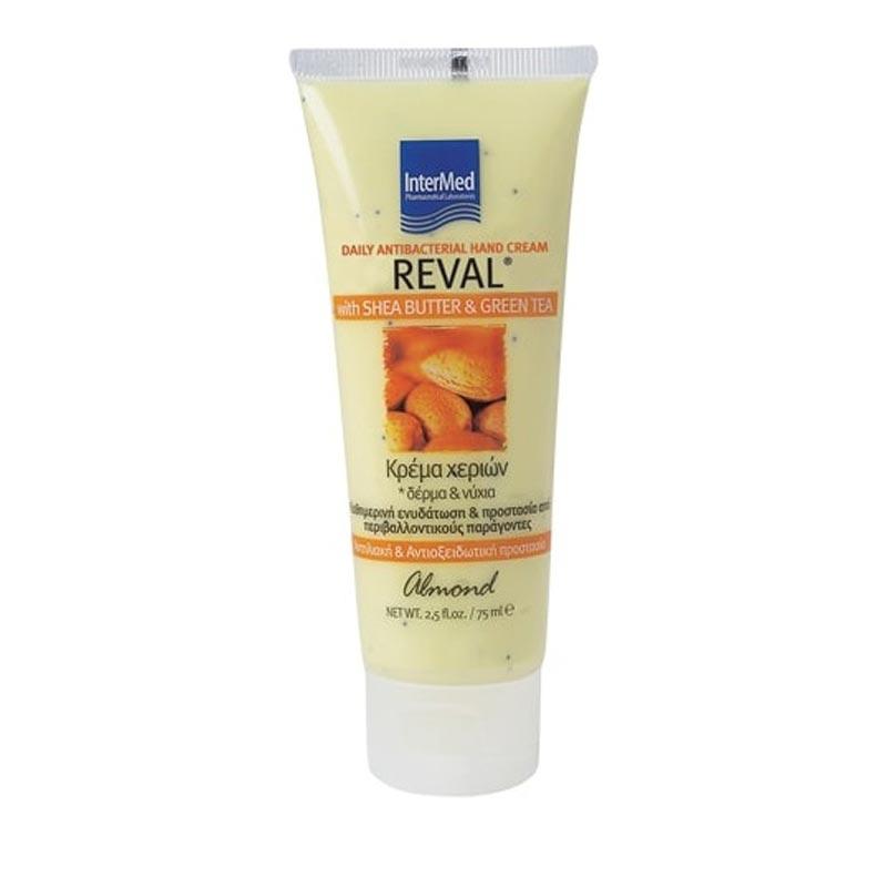 Intermed Reval Daily Hand Cream Καθημερινή Αντιβακτηριδιακή Κρέμα Χεριών Με Άρωμα Almond 75ml