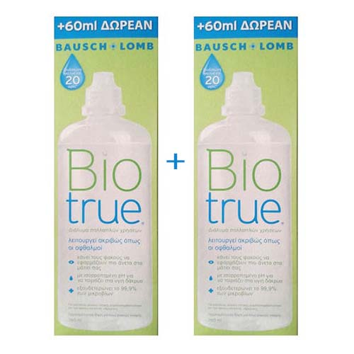 Bausch & Lomb Promo 1+1 BioTrue Υγρό Διάλυμα φακών επαφής 360+360ml