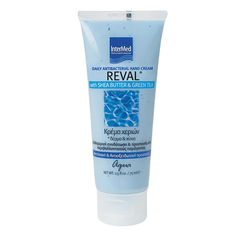 Intermed Reval Daily Antibacterial Hand Cream Aqua Aντιβακτηριδιακή Κρέμα Χεριών Για Ενυδάτωση & Προστασία 75ml
